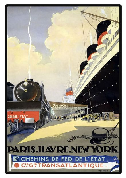Paris. Havre. New York. Vintage Travel/Tourism Print/Poster. Sizes: A4/A3/A2/A1 (002748)